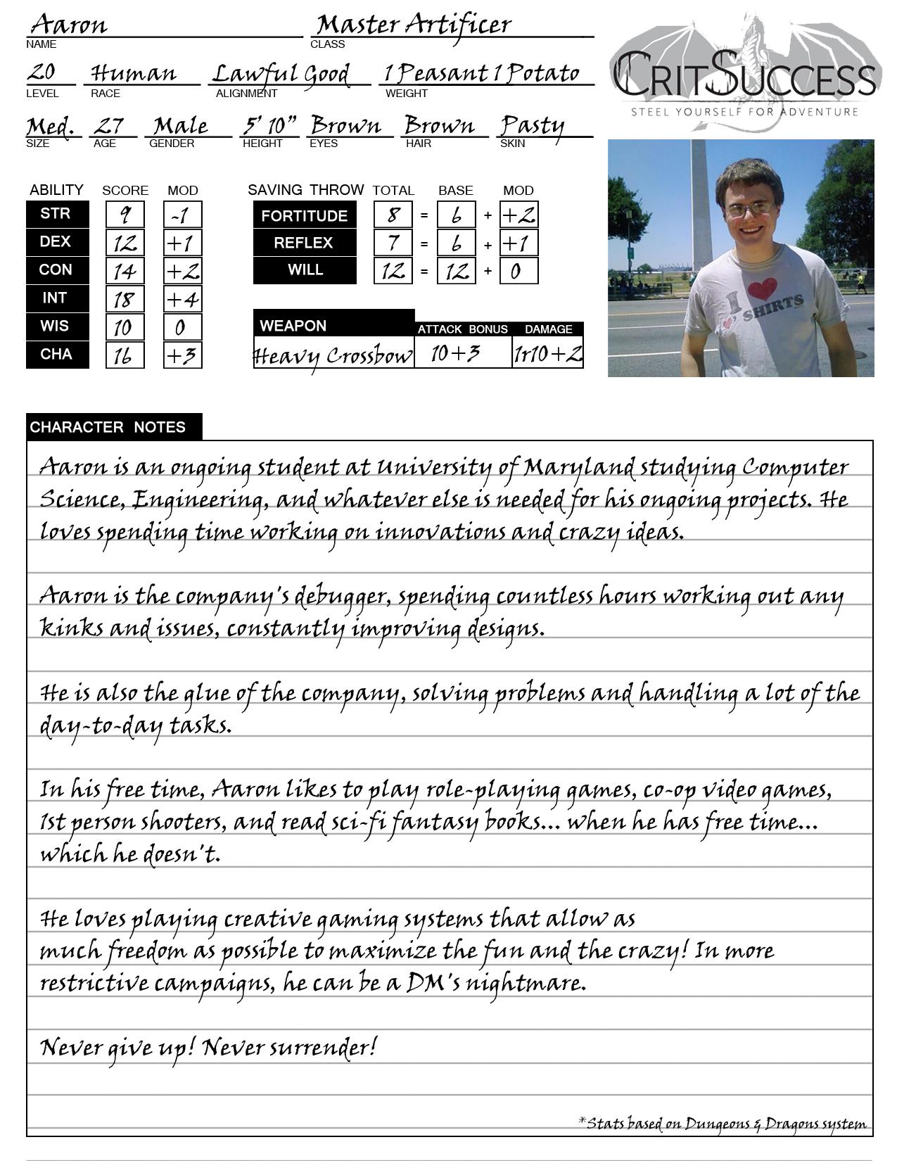Aaron's Character Sheet