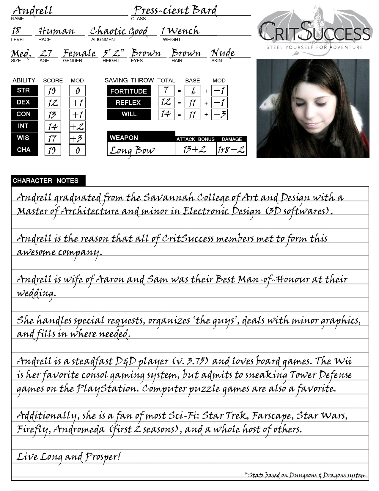 Andrell's Character Sheet